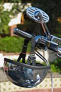 Motorcycle handlebar mirror & Helmet, Digital oil painted texture,  Beautiful, Unique