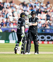 Cricket - 2019 ICC Cricket World Cup - Group Stage: England vs. NZ<br /> <br /> Mitchell Santner of New Zealand hits for 4, at the Riverside, Chester-le-Street, Durham.<br /> <br /> COLORSPORT/BRUCE WHITE