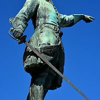 King Charles XII Statue in Stockholm, Sweden<br /> Only 15 years old when he became the King of Sweden in 1697, this 1868 statue of Charles XII in the King's Garden shows him with a saber in one hand and pointing towards Russia with the other. The historical significance is that in 1700, a triple alliance of countries attacked Sweden during the Great Northern War.  He defeated two of the enemies but failed twice in overpowering Russia.  The first time lead to his exile and he was killed during the second attempt in 1718.