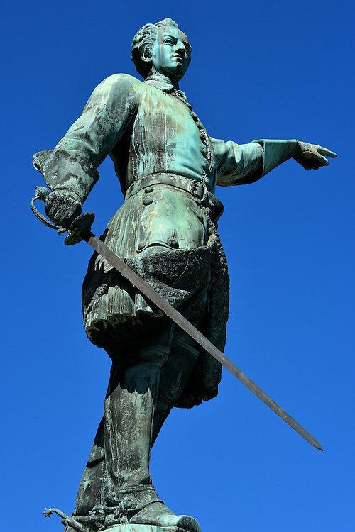 King Charles XII Statue in Stockholm, Sweden<br /> Only 15 years old when he became the King of Sweden in 1697, this 1868 statue of Charles XII in the King&rsquo;s Garden shows him with a saber in one hand and pointing towards Russia with the other. The historical significance is that in 1700, a triple alliance of countries attacked Sweden during the Great Northern War.  He defeated two of the enemies but failed twice in overpowering Russia.  The first time lead to his exile and he was killed during the second attempt in 1718.