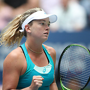 2017 U.S. Open Tennis Tournament - DAY SIX. CoCo Vandeweghe of the United States in action against Agnieszka Radwanska of Poland during the Women's Singles round three match at the US Open Tennis Tournament at the USTA Billie Jean King National Tennis Center on September 02, 2017 in Flushing, Queens, New York City.  (Photo by Tim Clayton/Corbis via Getty Images)
