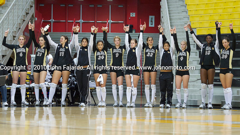 Game point in the Mizuno Thanksgiving Tournament match against Seattle University at the Walter Pyramid, Long Beach, Calif., Saturday, Nov. 27, 2010
