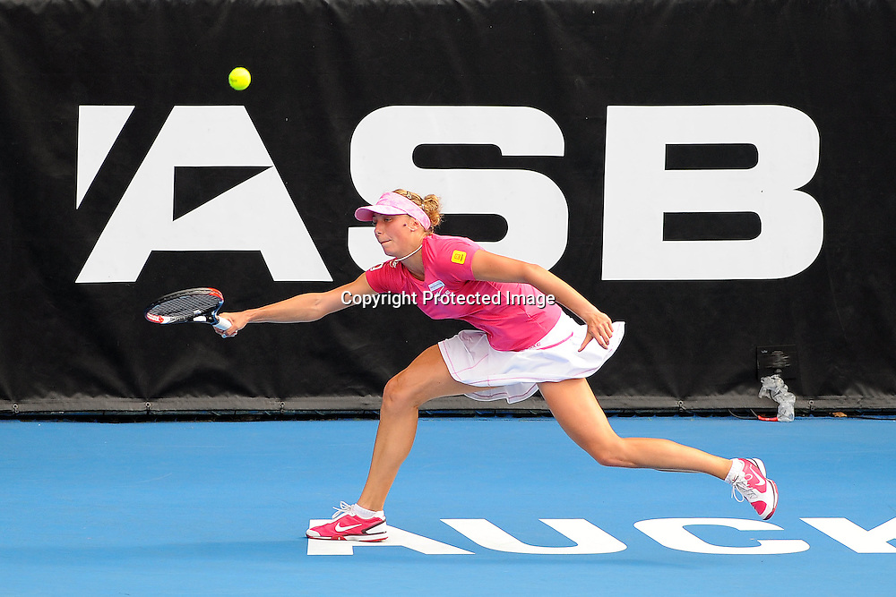 Yanian Wickmayer(BEL) in action during her match against Sabine Lisicki(GER)       at the WTA 2011 ASB Classic, ASB Tennis Centre, Auckland, New Zealand. Wednesday 5 January 2011. Photo: Chris Symes/photosport.co.nz