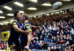 Perry Humphreys of Worcester Warriors celebrates his try with Dean Hammond of Worcester Warriors  - Mandatory by-line: Joe Meredith/JMP - 09/09/2016 - RUGBY - Sixways Stadium - Worcester, England - Worcester Warriors v Gloucester Rugby - Aviva Premiership