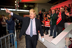 © London News Pictures. 15/04/2016. Manchester, UK. Mayor of London BORIS JOHNSON arrives on stage to talk at a Vote Leave campaign event in Manchester, ahead of a referendum on Britain's membership of the EU on June 23rd, 2016. . Photo credit: Ben Cawthra/LNP