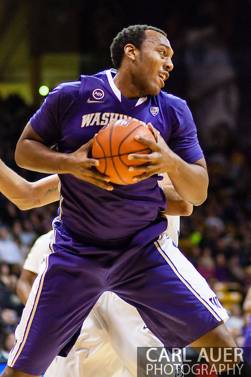 February 9th, 2014:  Washington Huskies senior forward Perris Blackwell (2) grabs a defensive rebound during the second half of the NCAA Basketball game between the Washington Huskies and the University of Colorado Buffaloes at the Coors Events Center in Boulder, Colorado