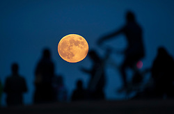 © Licensed to London News Pictures. 05/06/2020. London, UK. A man on a bicycle stops to watch from Primrose Hill as a spectacular full moon, known as the Strawberry Moon, rises over central London. Originally known as the Rose Moon in Europe the June full moon coincides with the strawberry harvest. Photo credit: Peter Macdiarmid/LNP