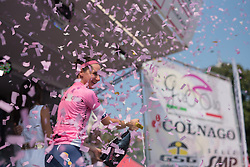 Megan Guarnier celebrates at the final stage of the Giro Rosa 2016 on 10th July 2016. A 104km road race starting and finishing in Verbania, Italy.
