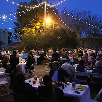 RAY VAN DUSEN/BUY AT PHOTOS.MONROECOUNTYJOURNAL.COM<br /> Several dozens of people gathered Oct. 19 for Aberdeen Main Street's Depot Dinner at Farmers Market Plaza. The biannual fundraiser has continued to help secure funds for Main Street's ongoing depot project.