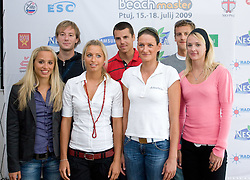 From L: Simona Fabjan, Alen Djordjevic Kamenik, Erika Fabjan, Gregor Perhaj, Andreja Vodeb, Jernej Potocnik and  Martina Jakob at press conference of Nestea BeachMaster tournament 2009 and Slovenian Beach Volleyball Tour,  on July 9, 2009, in Tivoli, Ljubljana, Slovenia. (Photo by Vid Ponikvar / Sportida)
