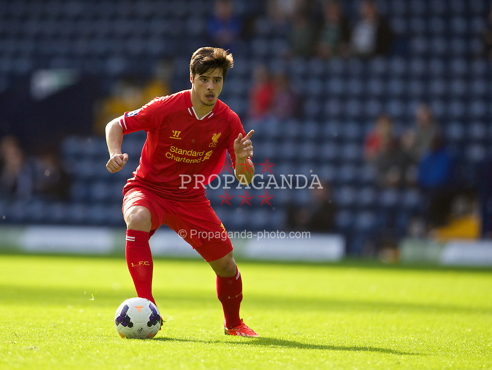 WEST BROMWICH, ENGLAND - Sunday, October 20, 2013: Liverpool's Joao Carlos Teixeira in action against West Bromwich Albion during the Under 21 FA Premier League match at the Hawthorns. (Pic by David Rawcliffe/Propaganda)