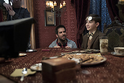 """Director Eli Roth with young star Owen Vaccaro on the set of """"The House With A Clock in Its Walls,"""" (2018)"""