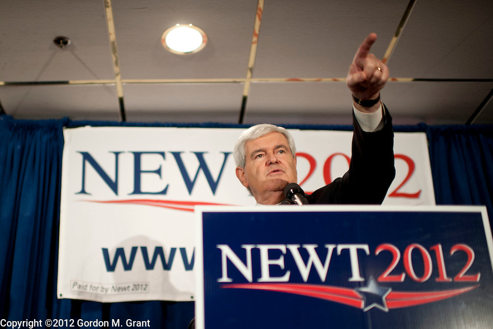 Manchester, NH, Unites States - 1/8/12 -   Former Speaker of the House Newt Gingrich speaks during a campaign stop in Manchester, NH January 8, 2012, as he campaigns for the Republican nomination for President prior to the New Hampshire Primary.     (Photo by Gordon M. Grant)