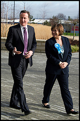 The Prime Minister David Cameron with the Conservative Candidate for the Eastleigh by-election Maria Hutchings as they visit B&Q in Eastleigh, Thursday February 14, 2013. Photo by Andrew Parsons / i-Images