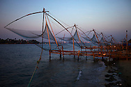 The Chinese fishing nets at the harbour of Fort Cochin are fixed land based installations for an unusual form of fishing.<br />