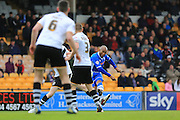 Calvin Andrew scores 3-1 during the Sky Bet League 1 match between Port Vale and Rochdale at Vale Park, Burslem, England on 23 April 2016. Photo by Daniel Youngs.