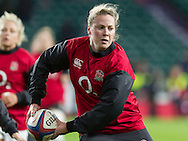 Amber Reed during the warm up, England Women v France Women in the 6 Nations at Twickenham Stadium, Twickenham, England, on 21st March 2015