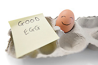 Happy egg with a note written 'good egg'
