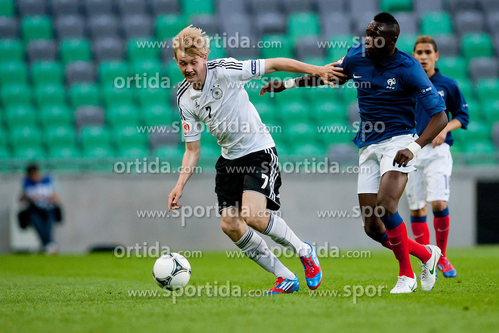 Julian Brandt of Germany and Seko Fofana of France during the UEFA European Under-17 Championship Group A match between Germany and France on May 10, 2012 in SRC Stozice, Ljubljana, Slovenia. (Photo by Matic Klansek Velej / Sportida.com)