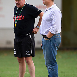 DURBAN, SOUTH AFRICA, 17 November 2015 - Gary Gold (Sharks Director of Rugby)  with John Smit (Chief executive officer) of the Cell C Sharks during The Pre-season training squad and coaching team announcement at Growthpoint Kings Park in Durban, South Africa. (Photo by Steve Haag)<br /> images for social media must have consent from Steve Haag