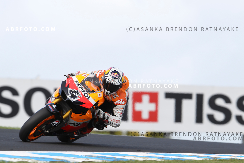 16 October 2011: Andrea Dovizioso (4) riding the Repsol Honda turns into turn 9 during the IVECO Australian MotoGP Grand Prix at the Phillip Island Circuit in Phillip Island, Victoria, Australia.