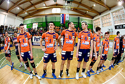Pajenk, Sket, Vidic, Venno of ACH at Trophy ceremony at final match of Slovenian National Volleyball Championships between ACH Volley Bled and Salonit Anhovo, on April 24, 2010, in Radovljica, Slovenia. ACH Volley defeated Salonit 3rd time in 3 Rounds and became Slovenian National Champion.  (Photo by Vid Ponikvar / Sportida)