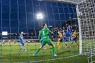 ZWOLLE, PEC Zwolle - Roda JC, voetbal, Eredivisie seizoen 2015-2016, 08-04-2016, IJsseldelta Stadion, Roda JC speler Marcos Gullon (R) scoort de 0-1, PEC Zwolle keeper Mickey van der Hart (M) is kansloos.