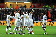 Swansea city  players celebrate after Pablo Hernandez scores his sides equaliser to make it 1-1. Barclays Premier league, Swansea city v Chelsea at the Liberty Stadium in Swansea, Swansea, South Wales on Saturday 3rd November 2012. pic by Andrew Orchard, Andrew Orchard sports photography,
