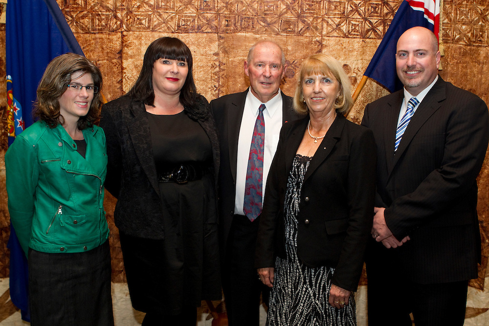 Peter Thorburn with his family who received the Insignia of a Member of the New Zealand Order of Merit receives from the Governor-General Lieutenant General Sir Jerry Mateparae at an Investiture Ceremony, Government House, Auckland, New Zealand, Wednesday, May 08, 2013.  Credit:SNPA / David Rowland