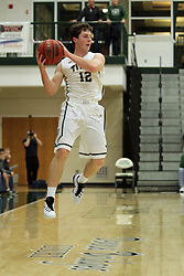 17 November 2015: Joel Pennington(12)  during an NCAA men's division 3 CCIW basketball game between the Greenville College Panthers and the Illinois Wesleyan Titans in Shirk Center, Bloomington IL