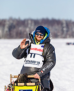 Musher Wade Marrs after the restart in Willow of the 46th Iditarod Trail Sled Dog Race in Southcentral Alaska.  Afternoon. Winter.