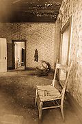 Chair and interior room, Bodie State Historic Park, California USA