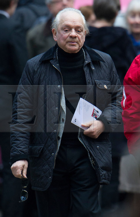 © London News Pictures. 13/02/2014. London, UK. Actor David Jason leaving the church..  The funeral of actor Roger Lloyd-Pack at St Pauls Church also known as 'The Actor's Church'  in Covent Garden, London. Roger Lloyd-Pack was famous for playing roles such as Trigger in Only Fools and Horses and Owen Newitt in the The Vicar of Dibley. Photo credit : Ben Cawthra/LNP