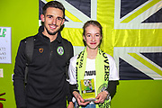 Forest Green Rovers Liam Shephard(2) with FGR ambassador Evie U during the EFL Sky Bet League 2 match between Forest Green Rovers and Grimsby Town FC at the New Lawn, Forest Green, United Kingdom on 22 January 2019.