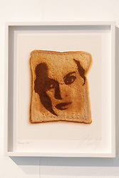 © Licensed to London News Pictures. 06/06/2019. London, UK. Artwork titled Beyonce 'QueenBee' 2019 by artist Blondy. The work is part of Epiphanies featuring the famous faces of a series of 25 laser etched portraits on toast . The work is showing at The Ronchini Gallery. Photo credit: Ray Tang/LNP