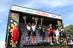 (Left to Right) 2nd Place Christoph Sauser & Jaroslav Kulhavy of Investec-Songo-Specialized, 1st Place  Henrique Avancini & Manuel Fumic of Cannondale Factory Racing XC and 3rd Place Markus Kaufmann Jochen Kaess of Centurion Vaude 1 during stage 1 of the 2017 Absa Cape Epic Mountain Bike stage race held from Hermanus High School in Hermanus, South Africa on the 20th March 2017<br /> <br /> Photo by Shaun Roy/Cape Epic/SPORTZPICS<br /> <br /> PLEASE ENSURE THE APPROPRIATE CREDIT IS GIVEN TO THE PHOTOGRAPHER AND SPORTZPICS ALONG WITH THE ABSA CAPE EPIC<br /> <br /> ace2016