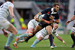 Matt Janney of Oxford University takes on the Cambridge defence - Photo mandatory by-line: Patrick Khachfe/JMP - Mobile: 07966 386802 11/12/2014 - SPORT - RUGBY UNION - London - Twickenham Stadium - Oxford University v Cambridge University - The Varsity Match