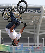 Rob Darden competes at the AST Dew Tour Right Guard Open BMX Park Prelims Friday, July 18, 2008 in Cleveland, OH.