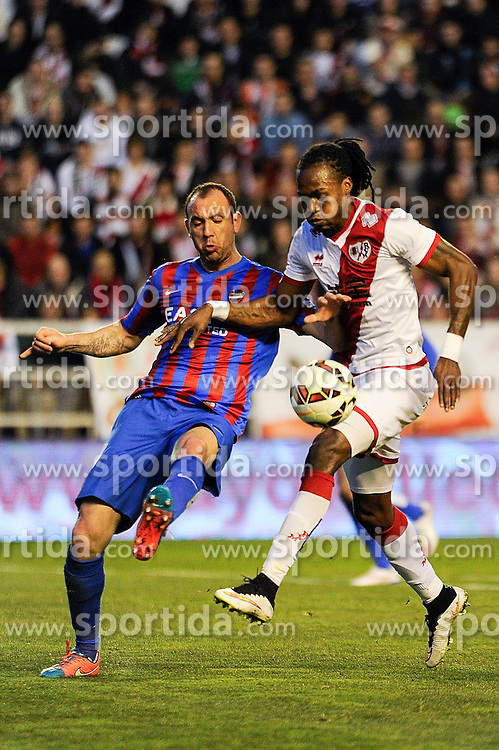 28.02.2015, Campo de Futbol, Madrid, ESP, Primera Division, Rayo Vallecano vs Levante UD, 25. Runde, im Bild Rayo Vallecano&acute;s Manucho and Levante UD&acute;s Ivan Ramis Barrios // during the Spanish Primera Division 25th round match between Rayo Vallecano and Levante UD at the Campo de Futbol in Madrid, Spain on 2015/02/28. EXPA Pictures &copy; 2015, PhotoCredit: EXPA/ Alterphotos/ Luis Fernandez<br /> <br /> *****ATTENTION - OUT of ESP, SUI*****