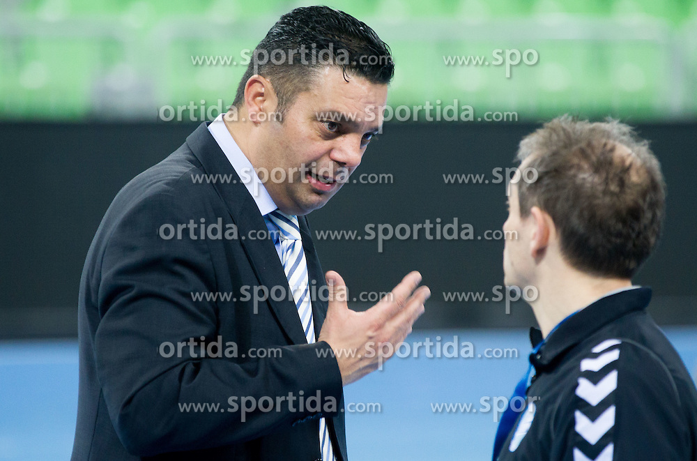 Goran Dujic, director of RK Krim talks to Tone Tiselj, head coach of Krim Mercator after the handball match between RK Krim Mercator and CS Oltchim RM Valcea (ROU) of Women's EHF Champions League 2011/2012, on February 4, 2012 in Arena Stozice, Ljubljana, Slovenia. Valcea defeated Krim 31-25. (Photo By Vid Ponikvar / Sportida.com)