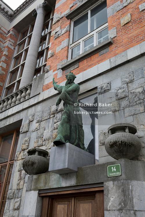 Exterior of the Slovenian National and University Library (by the celebrated architect Joze Plecnik) on Gosposka Street, in the Slovenian capital, Ljubljana, on 27th June 2018, in Ljubljana, Slovenia.