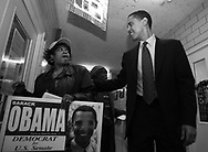 Illinois State Senator and U.S. Senate candidate Barack Obama campaigns in Chicago Saturday March 6, 2004. ...