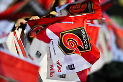 Newport Gwent Dragons branded flag<br /> <br /> Photographer Craig Thomas/Replay Images<br /> <br /> EPCR Champions Cup Round 3 - Newport Gwent Dragons v Newcastle Falcons - Saturday 15th December 2017 - Rodney Parade - Newport<br /> <br /> World Copyright © 2017 Replay Images. All rights reserved. info@replayimages.co.uk - www.replayimages.co.uk