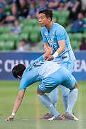 MELBOURNE, VIC - MARCH 05: Ko Jae-hyeon (26) of Daegu FC helps his teammate up during the AFC Champions League soccer match between Melbourne Victory and Daegu FC on March 05, 2019 at AAMI Park, VIC. (Photo by Speed Media/Icon Sportswire)