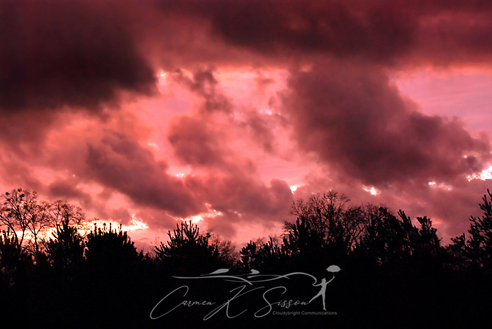 Storm clouds gather over Columbus, Mississippi at sunset, Jan. 31, 2011. (Photo by Carmen K. Sisson/Cloudybright)