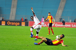 March 8, 2019 - Rades, Tunisia - Fousseny Colibaly of (EST)and Mandela Ocansey(30) during the  Match of the 5th day of the group phase of the CAF Champions League, between L'Esperance sportive de Tunis (EST) and Horoya Conakry (HAC) of Guinea Friday 8 March Radès.EST won by 2/0 ..photo: Yassine Mahjoub. (Credit Image: © Chokri Mahjoub/ZUMA Wire)