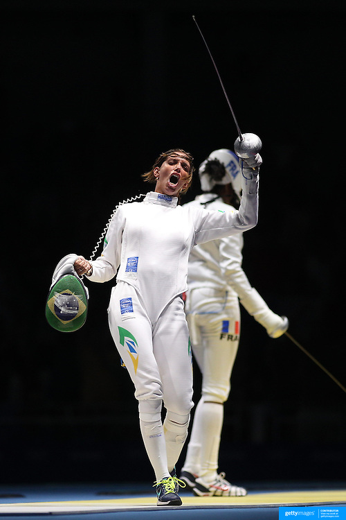 Opening Ceremony 2016  Fencing - Olympics: Day 1  Nathalie Moellhausen, Brazil, celebrates after defeating Lauren Rembi, France, during the Women's Épée Individual Quarterfinal at Carioca Arena 3 on August 6, 2016 in Rio de Janeiro, Brazil. (Photo by Tim Clayton/Corbis via Getty Images)