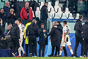 Manchester United Manager Jose Mourinho is taken off the pitch at the end after argument during the Champions League Group H match between Juventus FC and Manchester United at the Allianz Stadium, Turin, Italy on 7 November 2018.