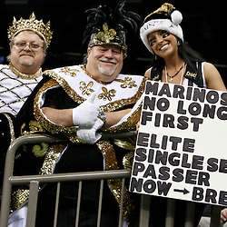 December 26, 2011; New Orleans, LA, USA; New Orleans Saints fans hold up a sign for New Orleans Saints quarterback Drew Brees (9) during a game at the Mercedes-Benz Superdome. The Saints defeated the Falcons 45-16.  Brees broke the NFL single-season passing record formerly held by Miami Dolphins quarterback Dan Marino on a 9-yard touchdown throw to Darren Sproles. Mandatory Credit: Derick E. Hingle-US PRESSWIRE