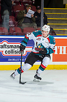 KELOWNA, CANADA - JANUARY 17: Kyle Pow #21 of the Kelowna Rockets warms up with the puck against the Lethbridge Hurricanes on January 17, 2018 at Prospera Place in Kelowna, British Columbia, Canada.  (Photo by Marissa Baecker/Shoot the Breeze)  *** Local Caption ***